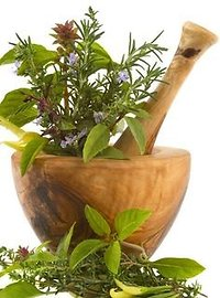 Aromatherapy. mortar and pestle